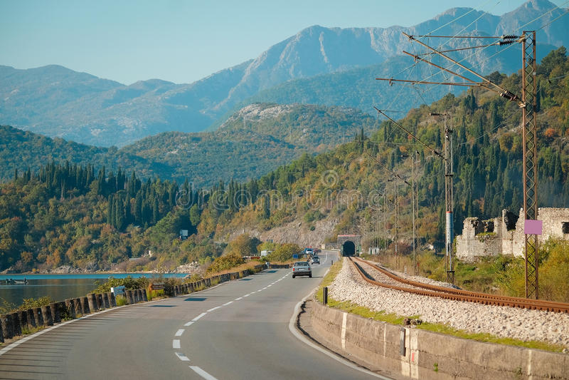 Gebirgsstraße in Montenegro stockfoto