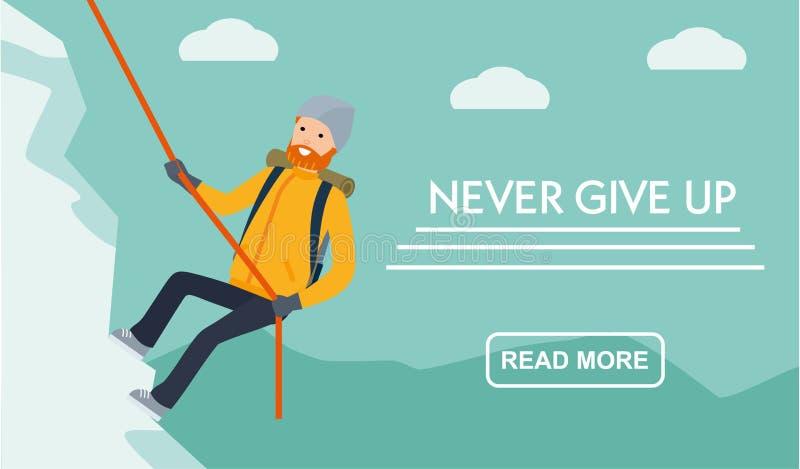 Gebirgstourismusfahne Bergsteiger klettert den Berg Geben Sie nie auf Flacher Karikaturillustrations-Vektorsatz Aktiver Sport stock abbildung