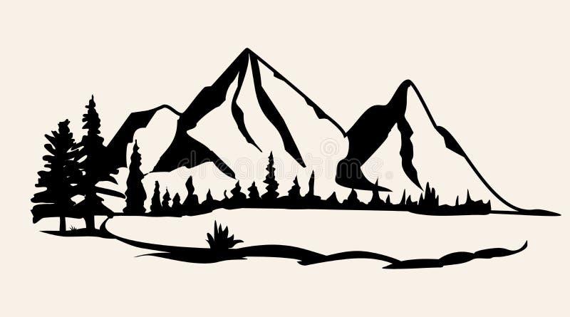 Gebirgsvektor Lokalisierte Vektorillustration des Gebirgszugs Schattenbild lizenzfreie stockbilder