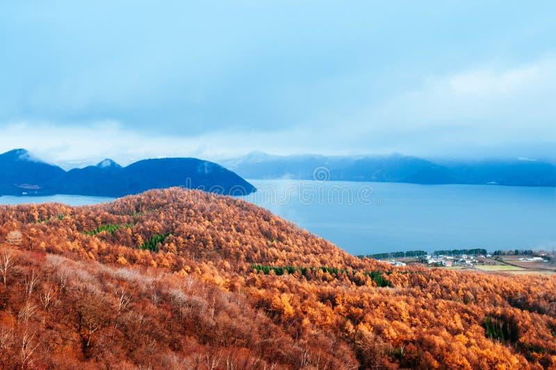 Gebirgswald und See Toya Hokkaidos Usuzan urly im Winteresprit stockbild