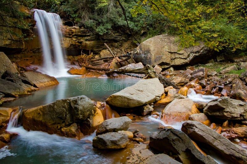 Gebirgswasserfall entlang dem Blackwater-Fluss stockbilder