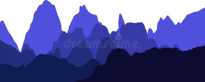 Gebirgszug-Hintergrund in den Schatten des Blaus stockbilder