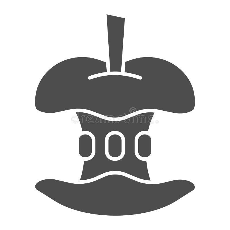 Gebissene feste Ikone des Apfels Apple-Kernvektorillustration lokalisiert auf Wei? Frucht Glyph-Artentwurf, bestimmt f?r Netz vektor abbildung