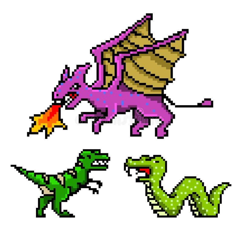 Gebissene Gegenstände der Pixelkunst 8 Dinosaurier-Schlangen-Drache Retro- Spielanlagegüter Set Ikonen Weinlesecomputervideospiel stock abbildung