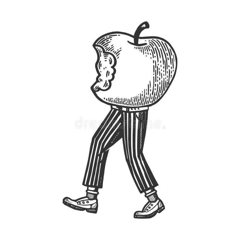 Gebissener Apfel geht auf seine Füße Vektor gravierend stock abbildung
