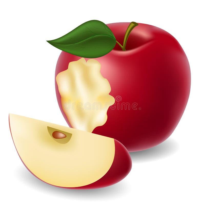 Gebissener Apfel und Apfelscheibe lizenzfreie abbildung