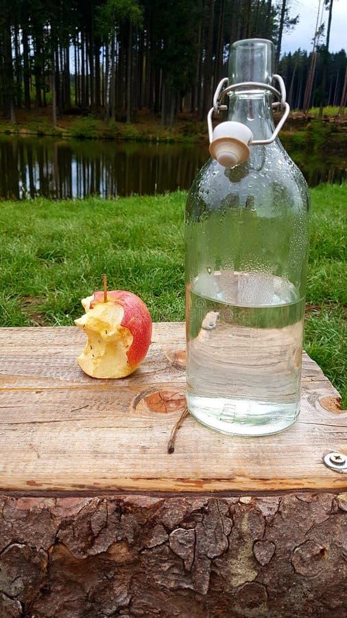 Gebissener Apfel und eine Flasche Wasser stockbilder