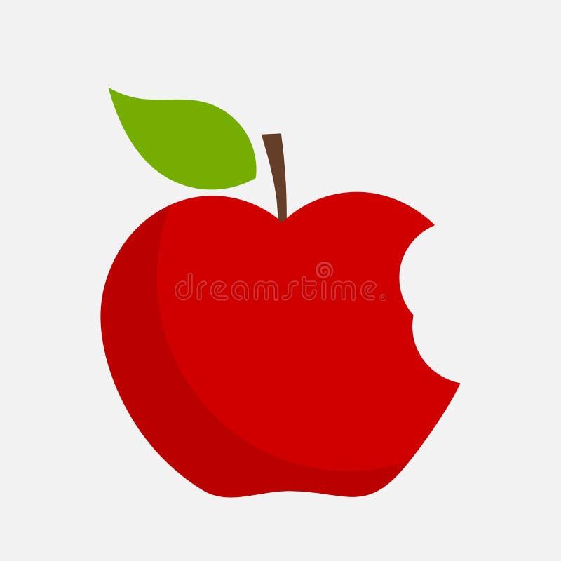Gebissener Apfelvektor lizenzfreie abbildung