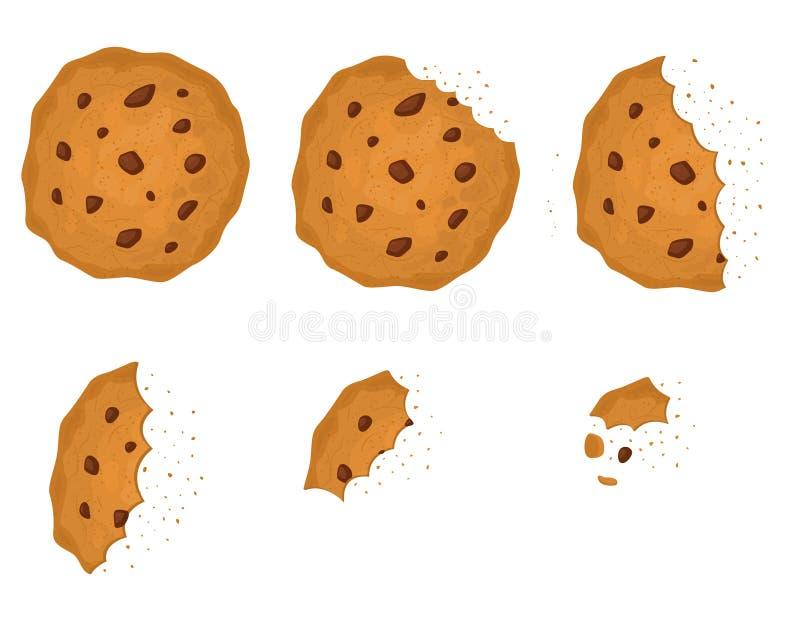 Gebissener Chip Cookie mit Schokoladen-Satz Vektor vektor abbildung