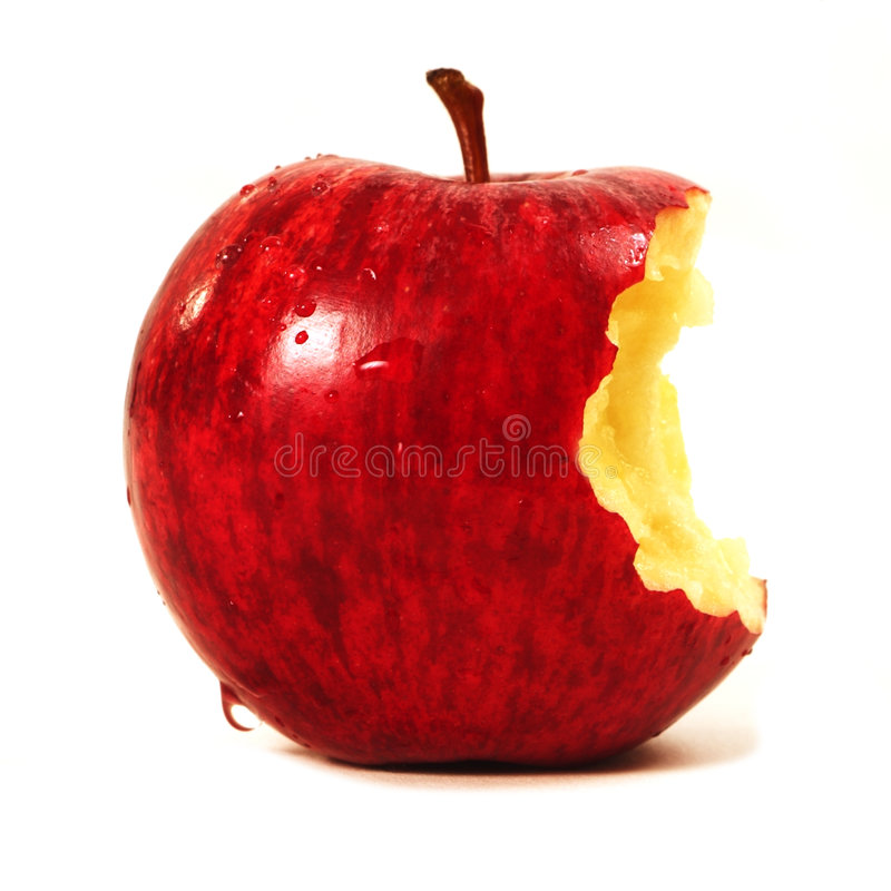 Gebissener roter Apple stockfotografie