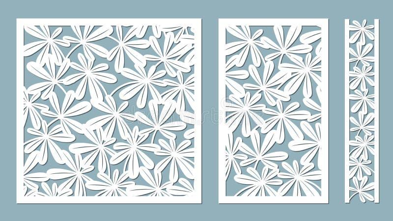 gebladerte Vector illustratie Document bloem, stickers Laserbesnoeiing Malplaatje voor laserknipsel en Plotter Vector illustratie stock illustratie