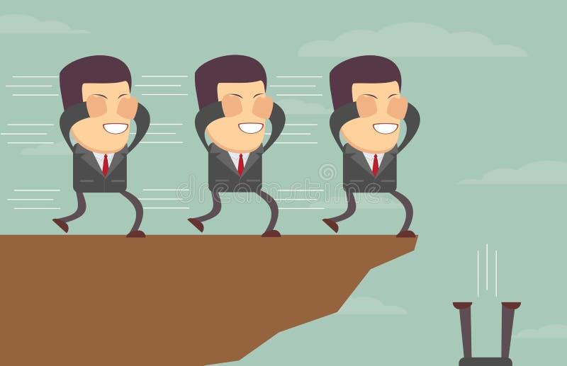 Geblinddochte zakenlieden die elkaar volgen aan de klip royalty-vrije illustratie