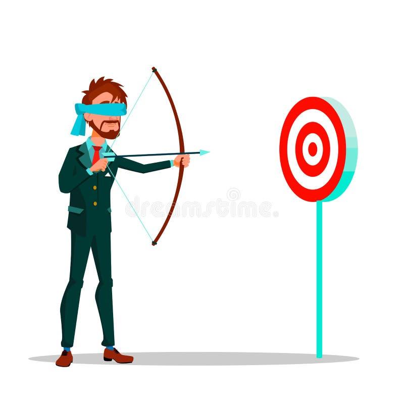 Geblinddochte Zakenman Aiming At Target van een Illustratie van het Boog Vector Vlakke Beeldverhaal vector illustratie