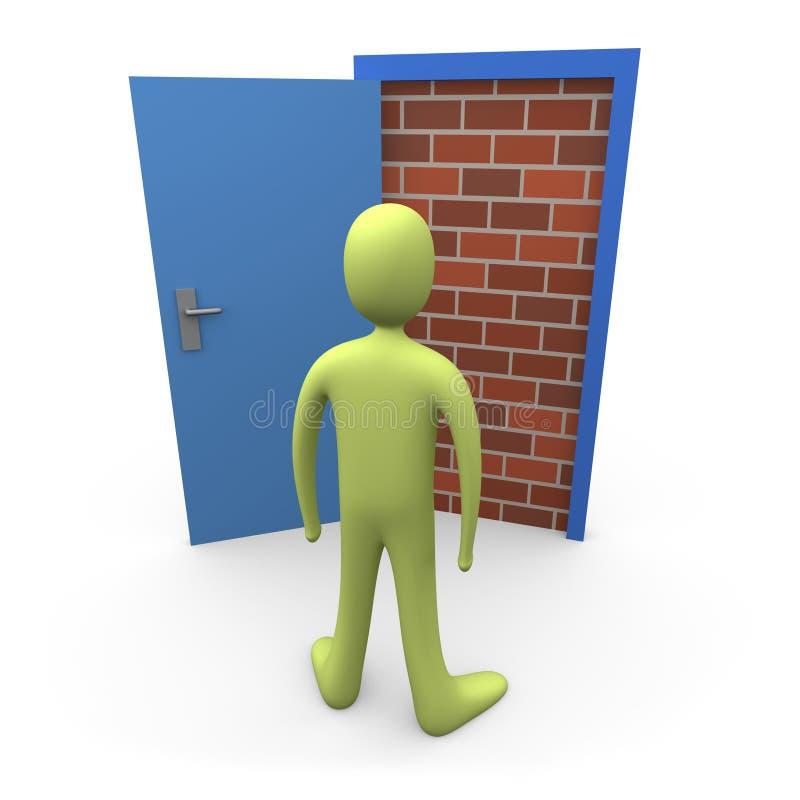 Geblockte Tür stock abbildung