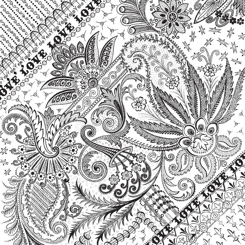 Gebloeide bloemendamastachtergrond of bekleding stock illustratie