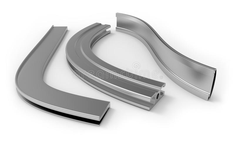 Gebogen aluminiumprofiel royalty-vrije illustratie