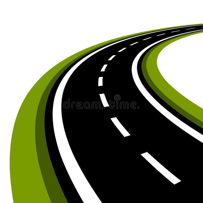 Gebogen asfaltweg vector illustratie