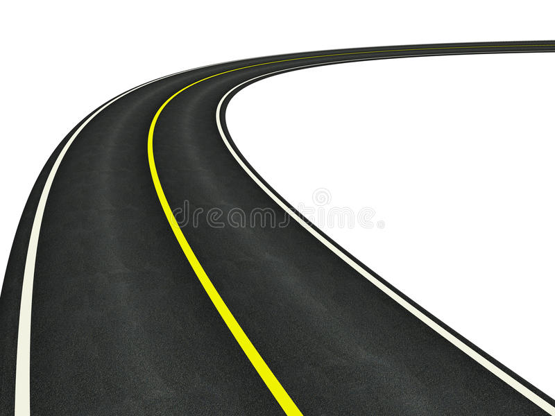 Gebogen asfaltweg stock illustratie