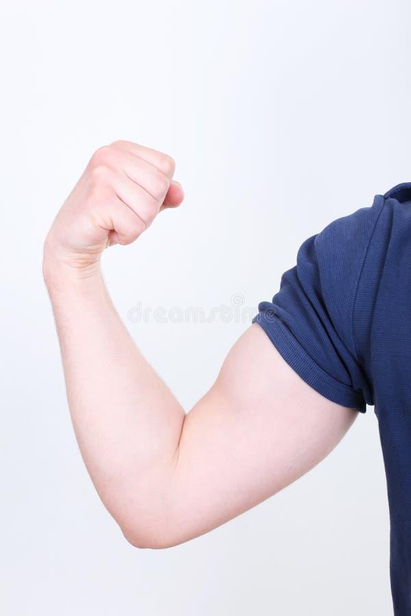 Gebogen bicepsen die op wit worden geïsoleerdL royalty-vrije stock foto