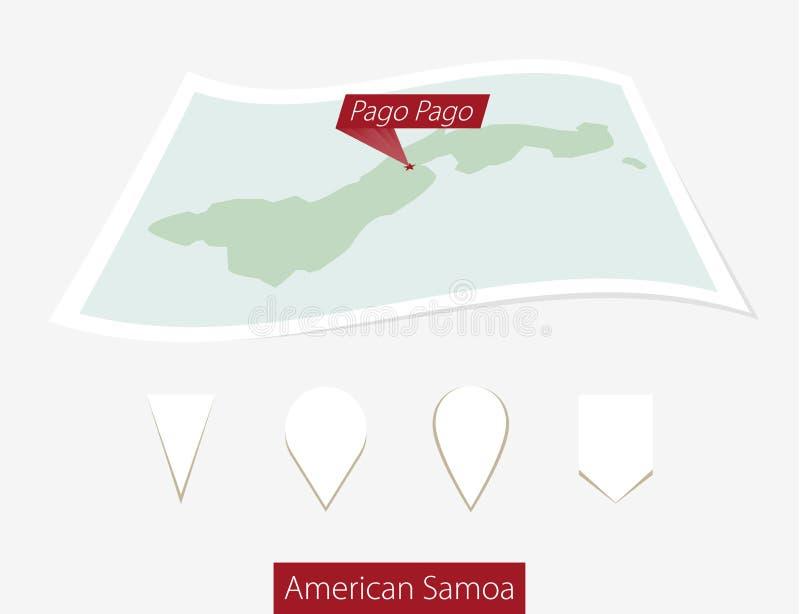 Gebogen document kaart van Amerikaans Samoa met hoofdpago Pago op Gra stock illustratie
