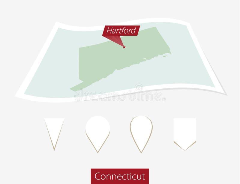 Gebogen document kaart van de staat van Connecticut met hoofdhartford op G royalty-vrije illustratie