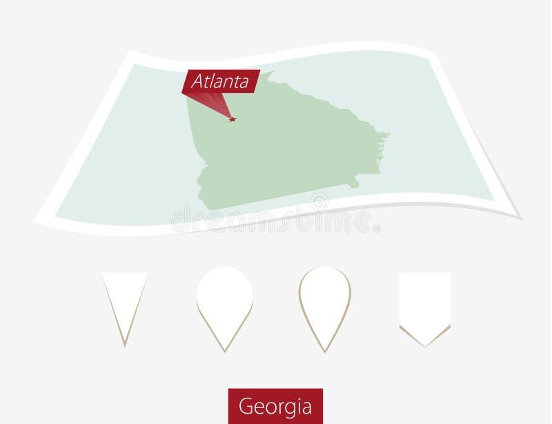 Gebogen document kaart van de staat van Georgië met hoofdatlanta op Grijze B vector illustratie
