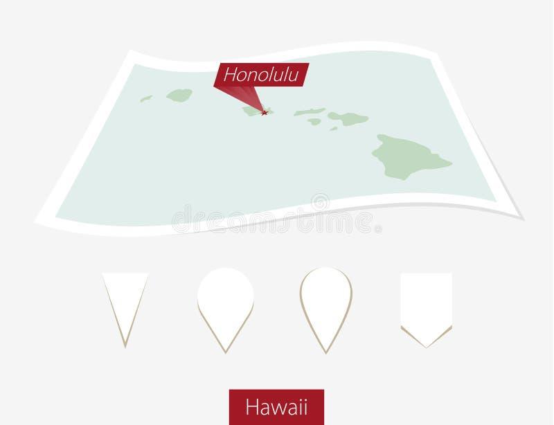 Gebogen document kaart van de staat van Hawaï met hoofdhonolulu op Grijze B vector illustratie