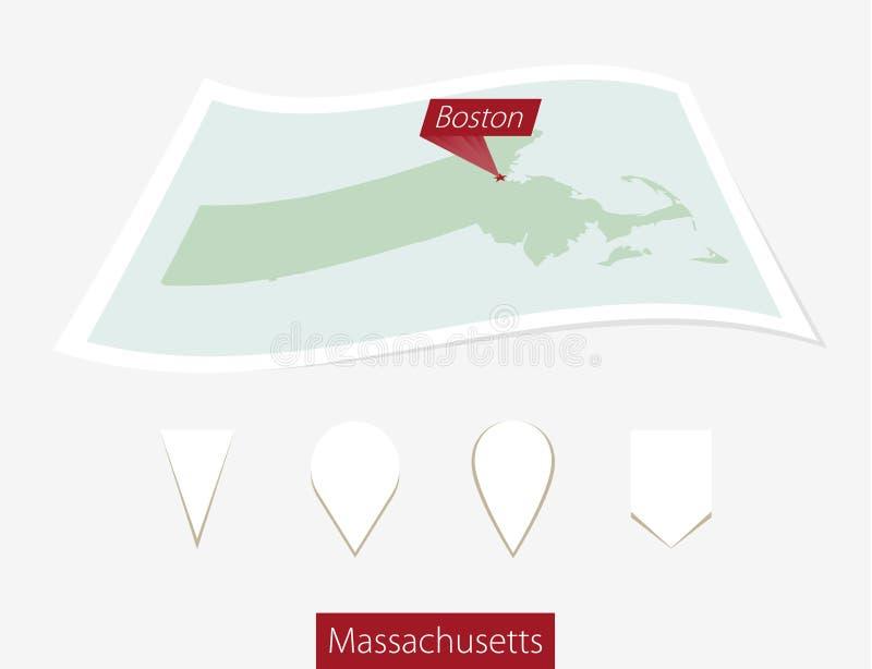 Gebogen document kaart van de staat van Massachusetts met hoofdboston op G vector illustratie
