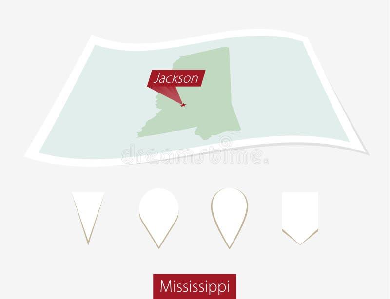 Gebogen document kaart van de staat van de Mississippi met de hoofdmississippi o stock illustratie
