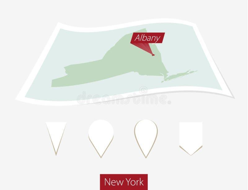 Gebogen document kaart van de staat van New York met hoofdalbany op Grijze B vector illustratie