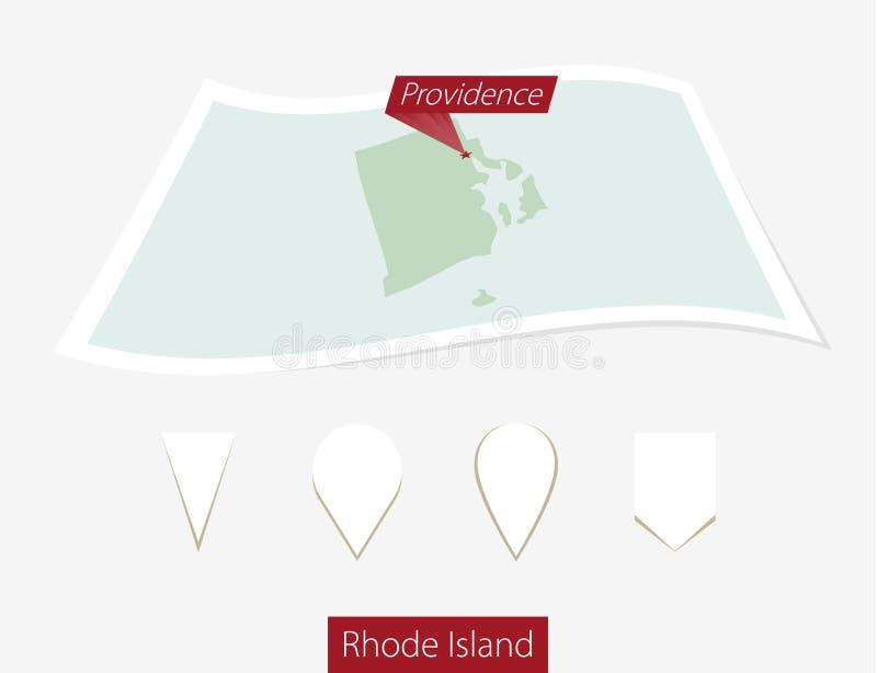 Gebogen document kaart van de staat van Rhode Island met hoofdvoorzienigheid o stock illustratie