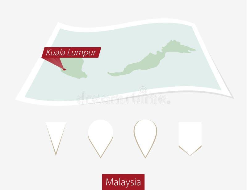 Gebogen document kaart van Maleisië met hoofdkuala lumpur op Grijze B royalty-vrije illustratie