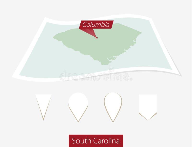 Gebogen document kaart van staat de Zuid- van Carolina met hoofdcolombia o royalty-vrije illustratie