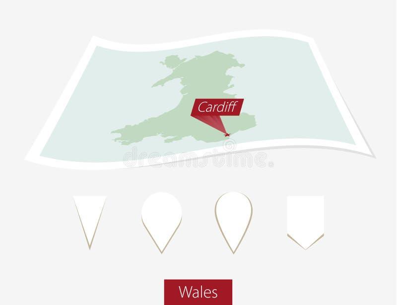 Gebogen document kaart van Wales met hoofdcardiff op Gray Backgroun vector illustratie