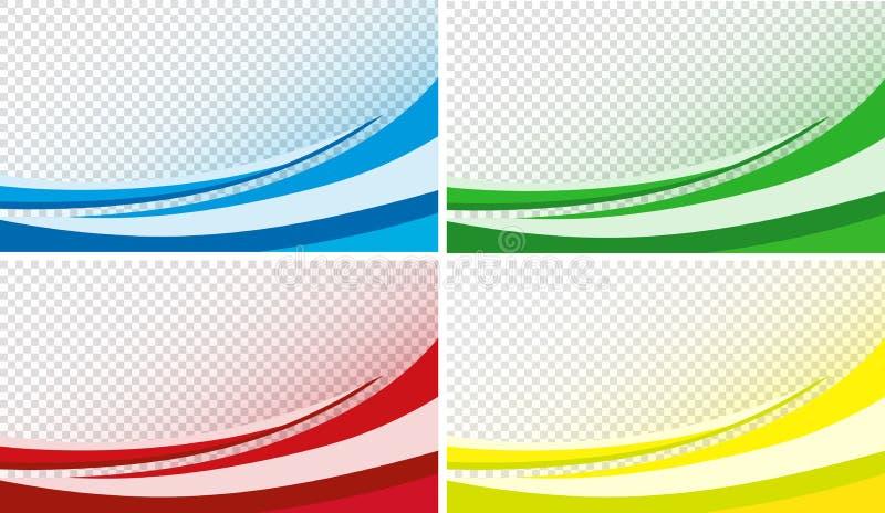 Gebogen effect als achtergrond in rood, blauw, groen en geel stock illustratie