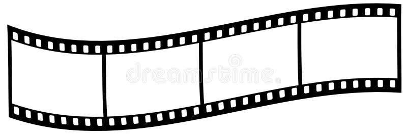 Gebogen filmstrook op witte achtergrond stock afbeelding