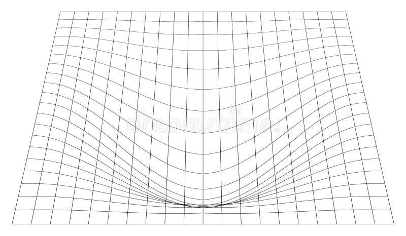 Gebogen net in perspectief 3d netwerk met convexe vervorming royalty-vrije illustratie
