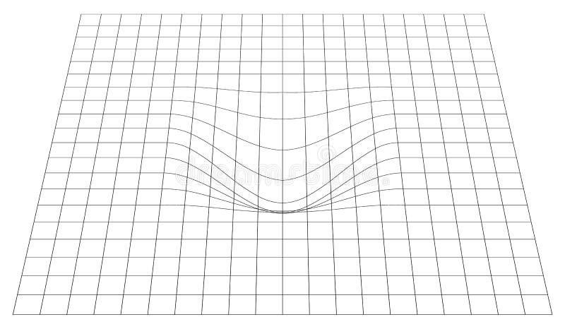 Gebogen net in perspectief 3d netwerk met convexe vervorming vector illustratie