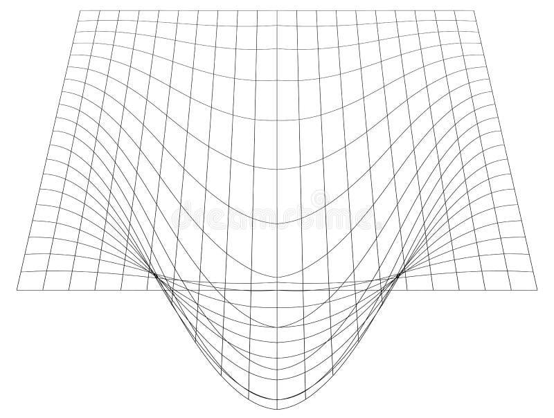 Gebogen net in perspectief 3d netwerk met convexe vervorming stock illustratie