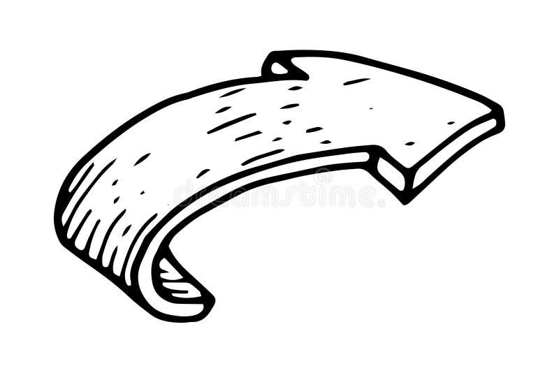 Gebogen pijl Hand getrokken schets stock illustratie