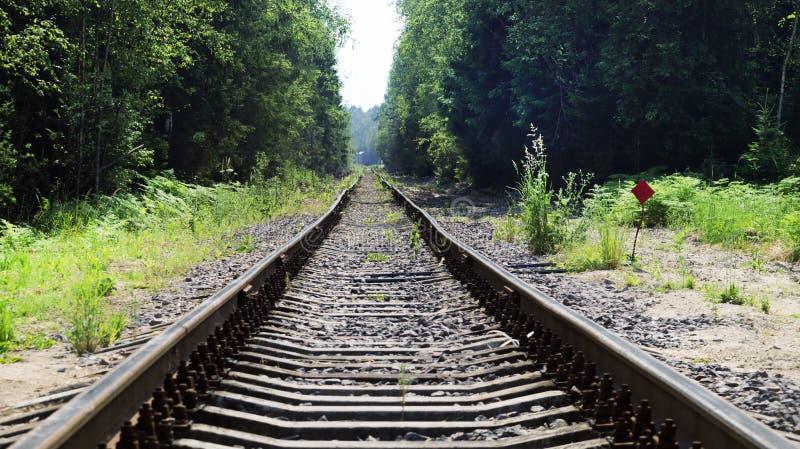 Gebogen spoorwegsporen, oude spoorweg royalty-vrije stock afbeelding
