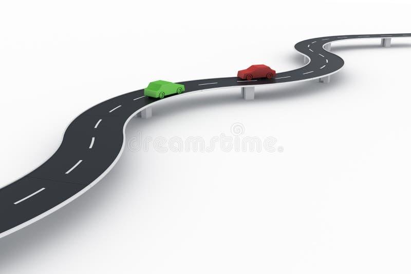 Gebogen wegbrug met auto's royalty-vrije illustratie