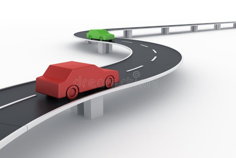 Gebogen wegbrug met auto's vector illustratie