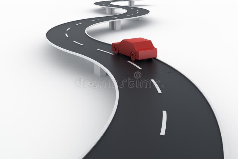 Gebogen wegbrug met een auto vector illustratie