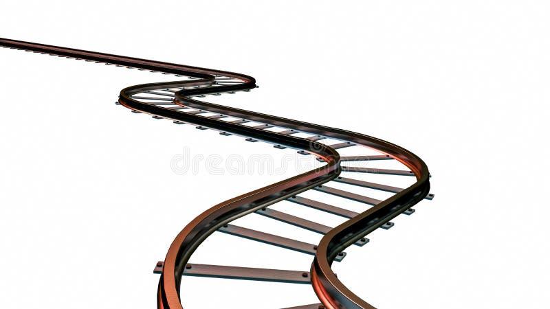 Gebogene Bahngleise auf weißem Hintergrund Abbildung 3D stockfoto