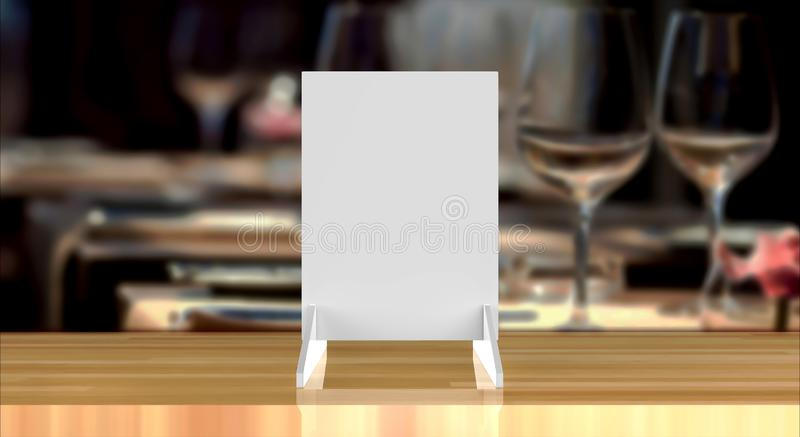 Gebogene Gegenspitzenzeichen-Halter und Plakat zeigt Tablet-Zelt-Sprecher-fördernde Menükarte an stock abbildung