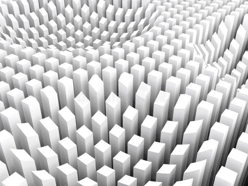 Download Gebogene Oberfläche Bildete Weiße Spaltenbereichsreihe, 3d Stock  Abbildung   Illustration Von Würfel, Rasterfeld
