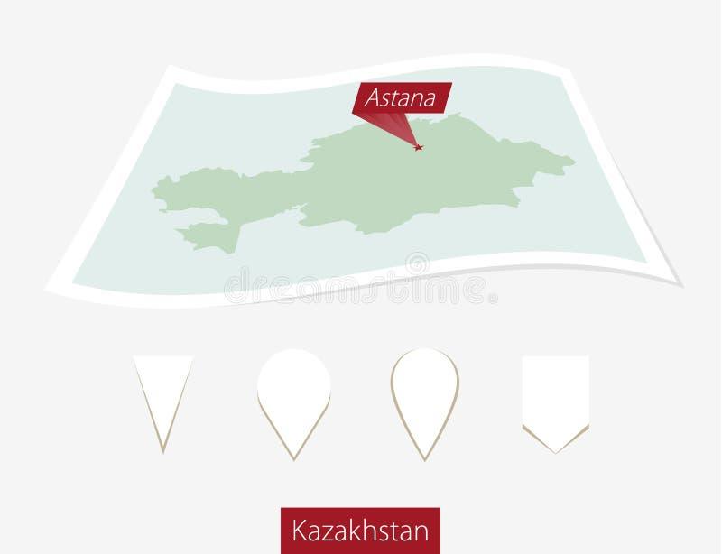 Gebogene Papierkarte von Kasachstan mit Hauptstadt Astana auf Gray Backg lizenzfreie abbildung
