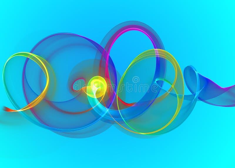 Gebogene Spirale und Kreise des Feiertags transparenter Glasregenbogen über Cyanblau abstraktem Hintergrund Horizontale Illustrat stock abbildung