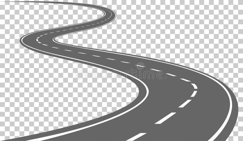 Gebogene Straße mit weißen Markierungen lizenzfreie abbildung